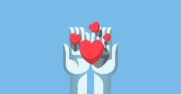 Hands sharing the love illustration