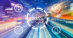 SaaS - Software as a service concept with abstract high-speed technology POV motion blur